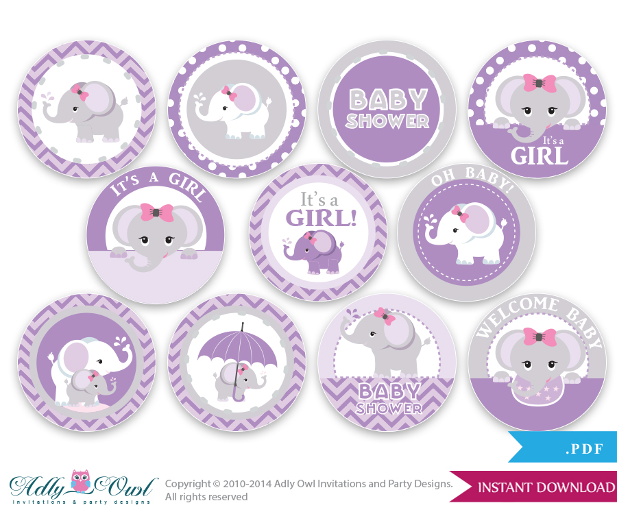 Good Purple Grey Girl Elephant Baby Shower Cupcake Toppers,Favor Tags, Oh Baby   Chevron