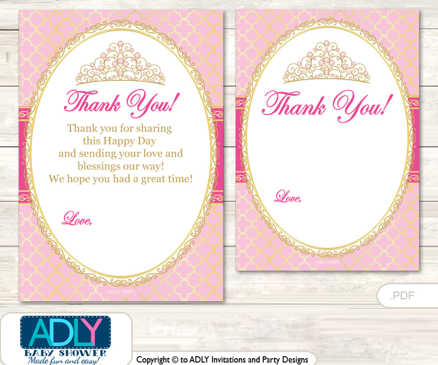 Crown Tiara Thank you Cards for a Baby Crown Shower or Birthday DIY ...