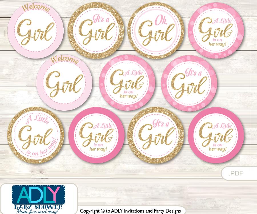 Baby Shower Girl Bokeh Cupcake Toppers Printable File for Little ...