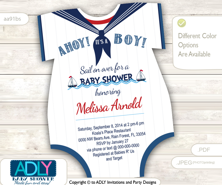 Nautical Onesies Baby Shower Invitation for a Baby Boy in Navy Blue ...