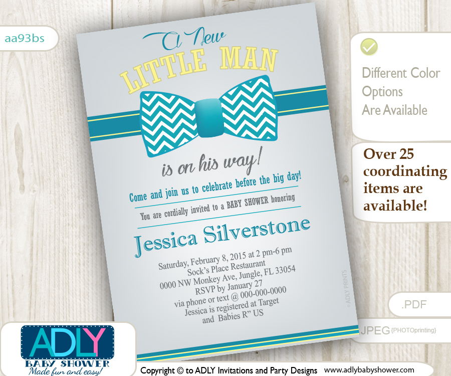 Turquoise Grey Yellow Bow Tie Baby Shower Invitation for a Little