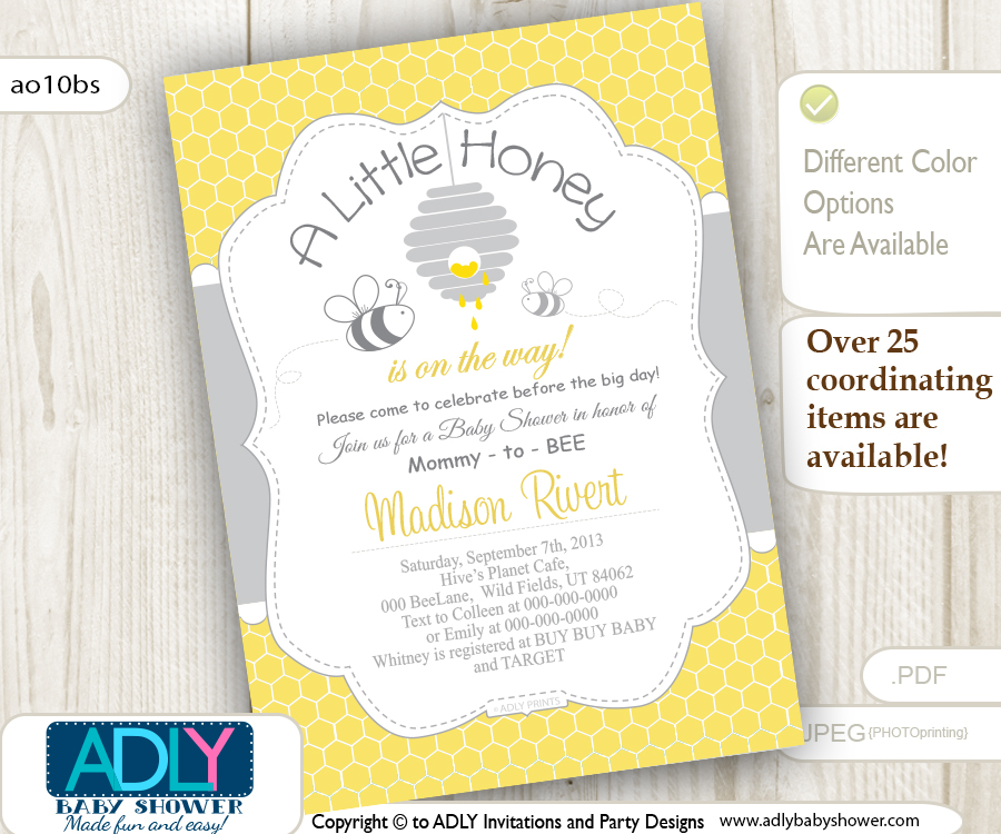 Gender Neutral Baby Bee Invitation in grey and yellow colors shower