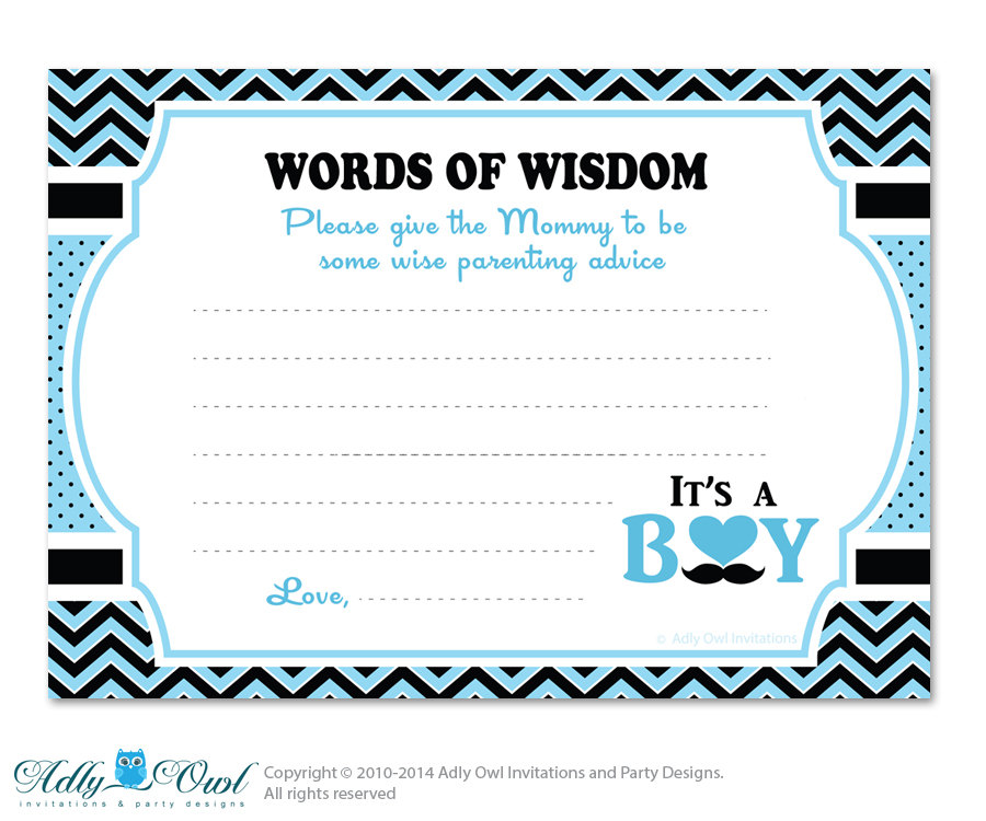 Blue Man Boy Mustache Words Of Wisdom Advice Card For Baby Shower