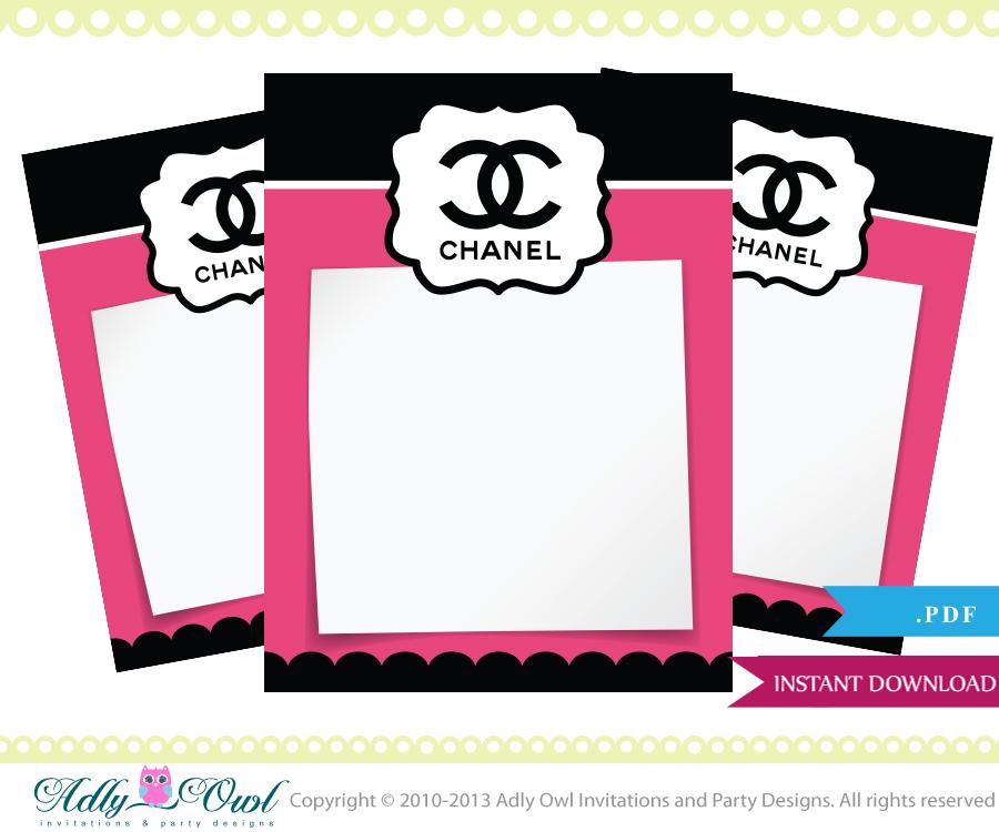 Coco Chanel Thank You Tiny Notes Printable DIY party, a high fashion ...