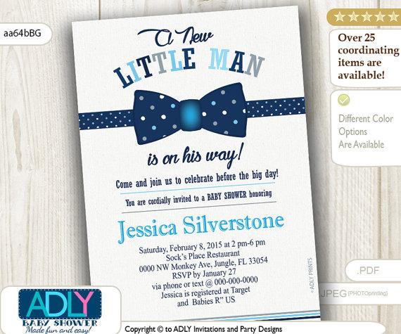 Navy Blue Grey Bow Tie Little Man Baby Shower Invitation, Dark Blue Bow Tie  Polka
