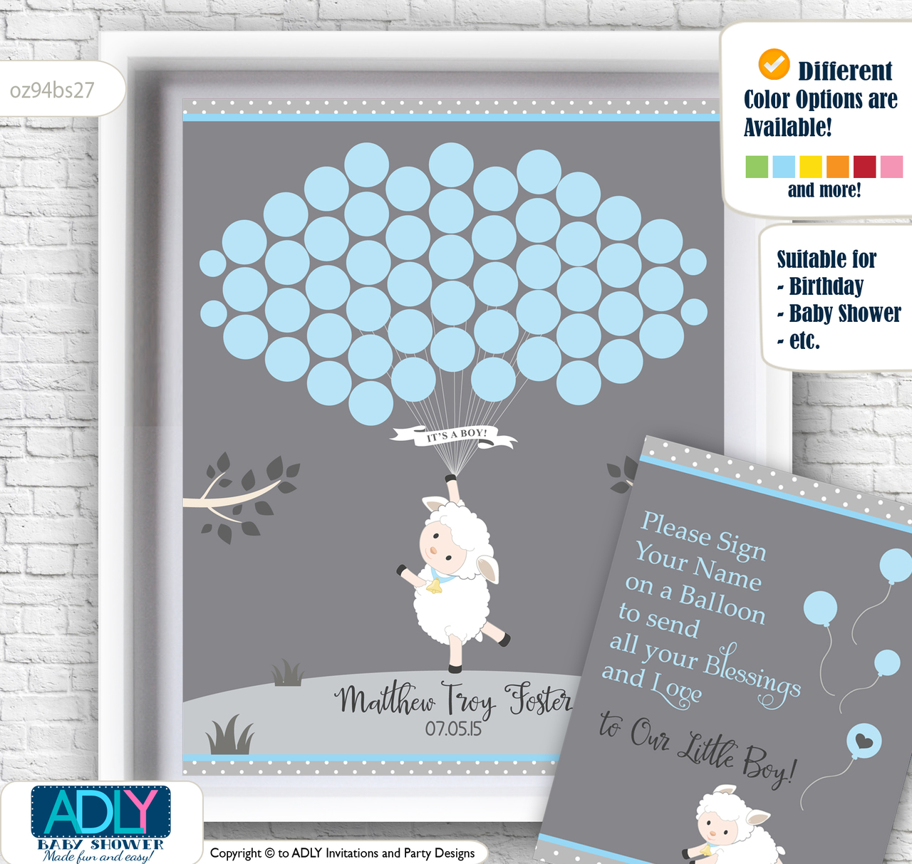 Boy Lamb Guest Book Alternative for a Baby Shower, Creative Nursery ...