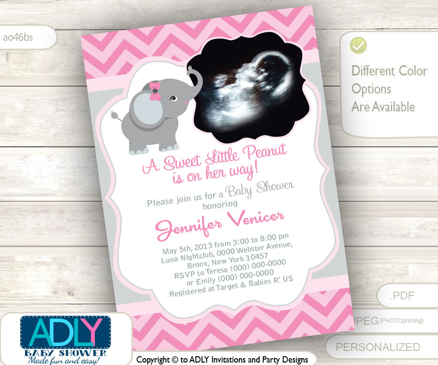 Pink Grey Elephant Ultrasound Photo Baby Shower invitation for girl ...