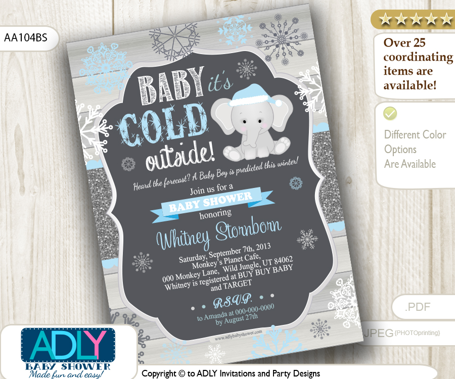 Dark Grey, Glitter. Blue Elephant Winter Snowflake Invitation for ...