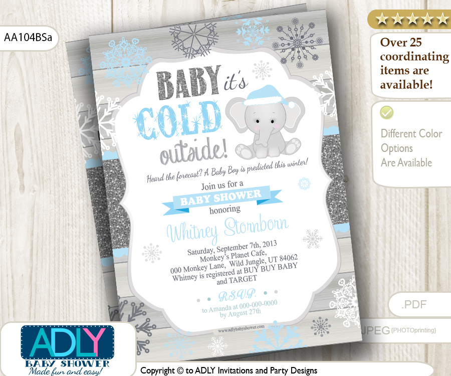 Baby Blue, Glitter, Blue Elephant Snowflake Invitation for Winter ...
