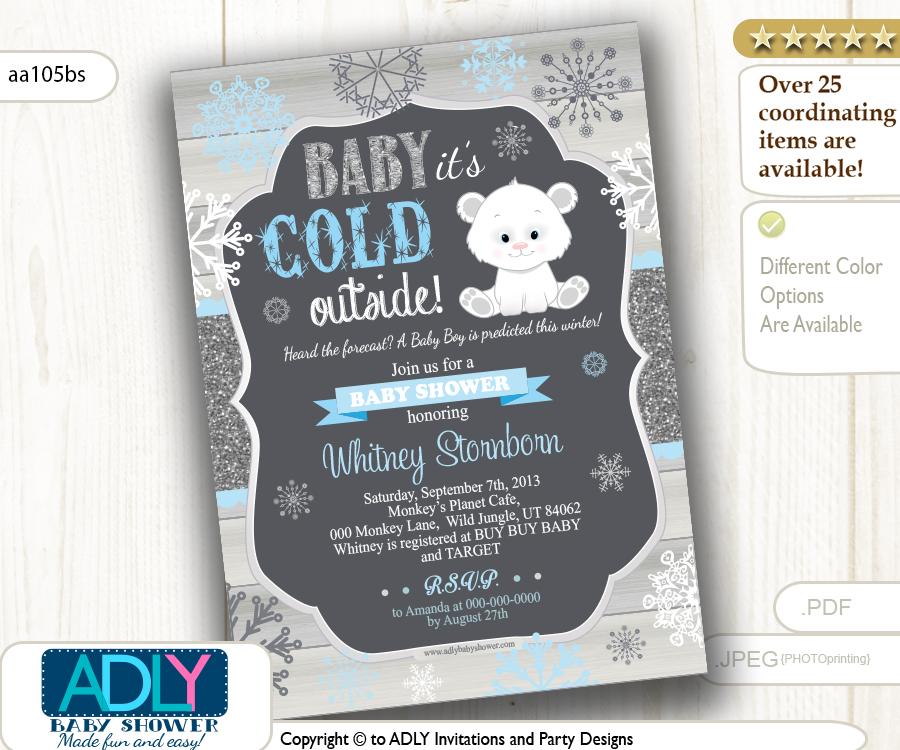 Polar Bear Baby Shower Digital Invitation Printable Card ADLY