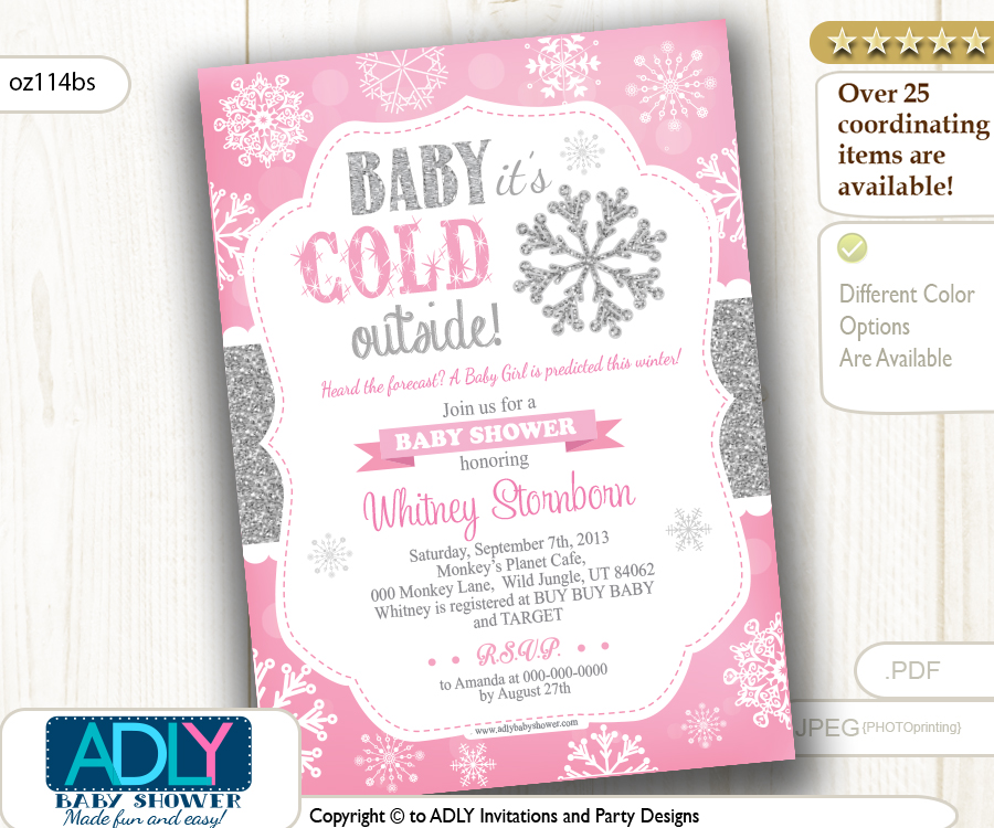 Snowflake Girl Baby Shower Digital Invitation Pink Silver Glitter