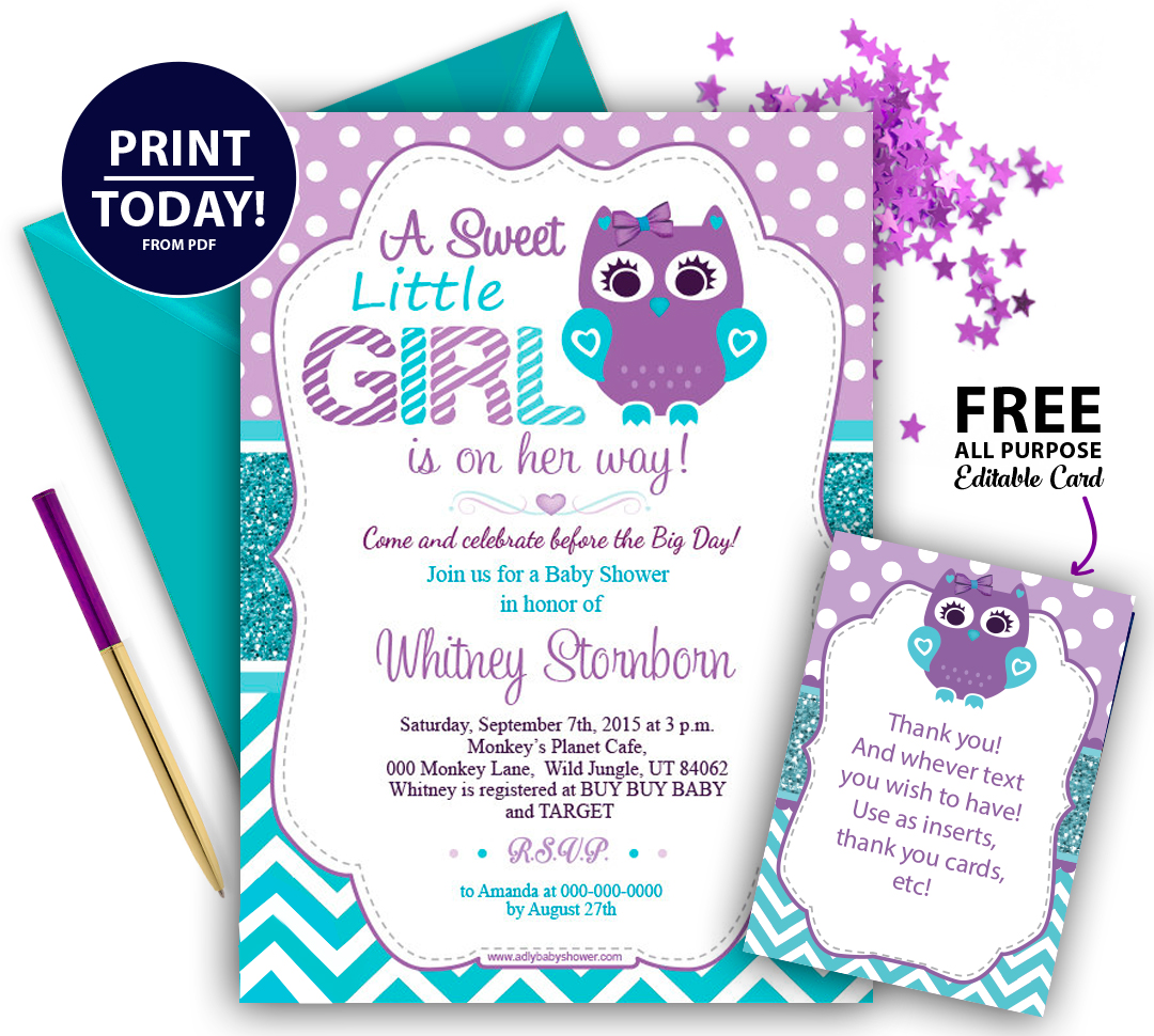 Purple Teal Girl Owl Baby Shower Invitation - ADLY Invitations and ...