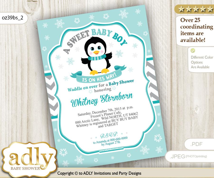 Penguin Boy Shower Invitation in Grey Chevron and Aqua colors ...
