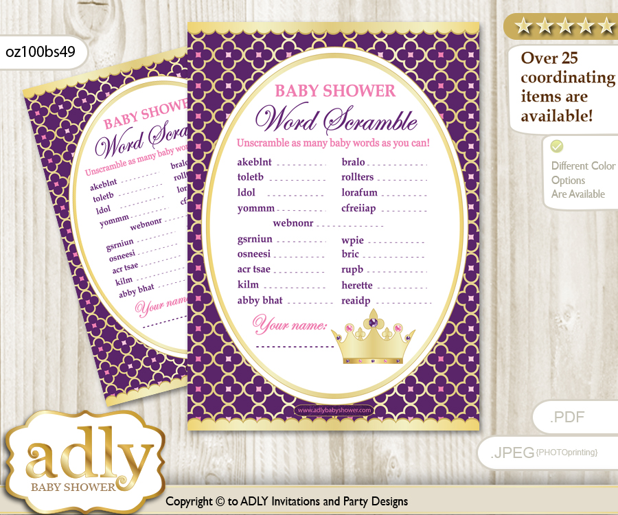 Pink Purple Princess Word Scramble Game For Baby Shower