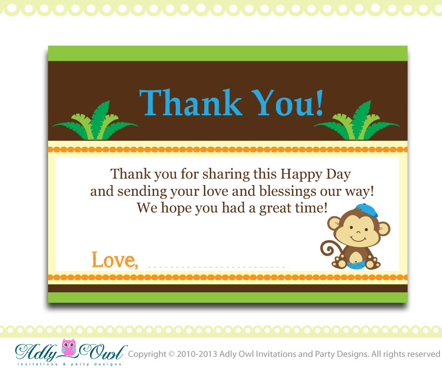 Boy Monkey Baby Shower, Birthday Thank you Note Card, thank you tag ...