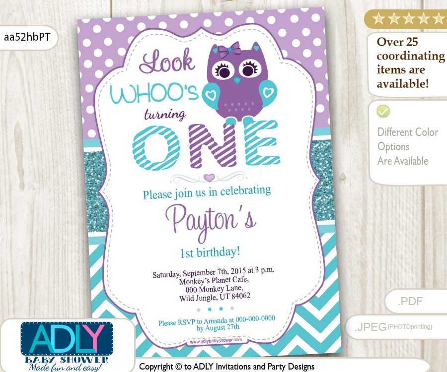 Teal and Purple Girl Owl Birthday Invitation, chevron and polka ...