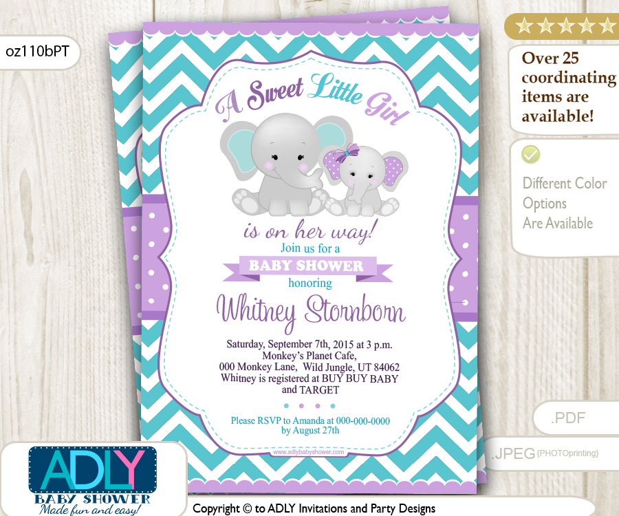 Purple Teal grey girl elephant and mommy baby shower invitation ...