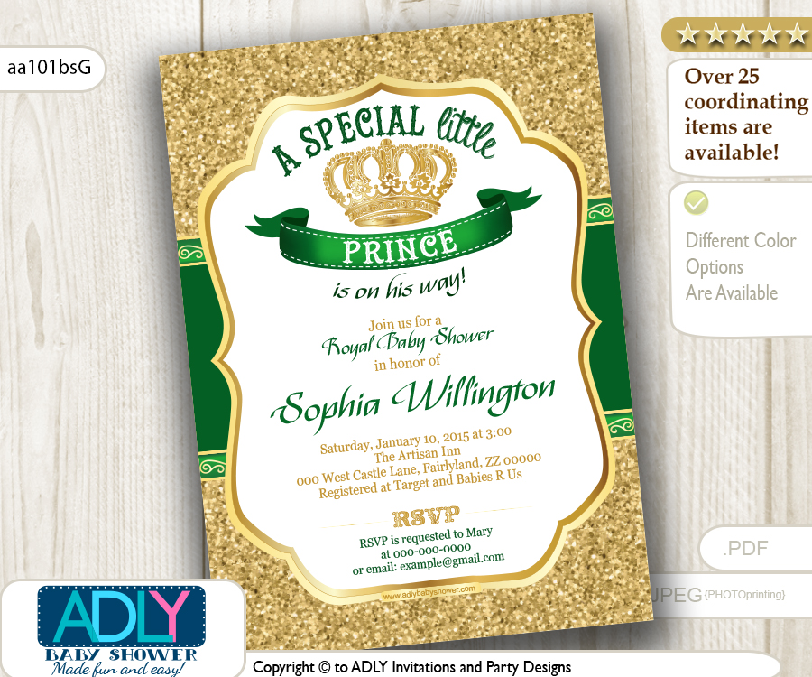 Gold Glitter and Dark Royal Green Prince or King Baby Shower ...