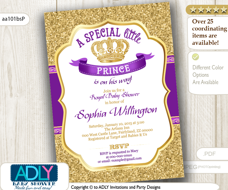 Gold Glitter and Royal Purple Prince or King Baby Shower Invitation ...