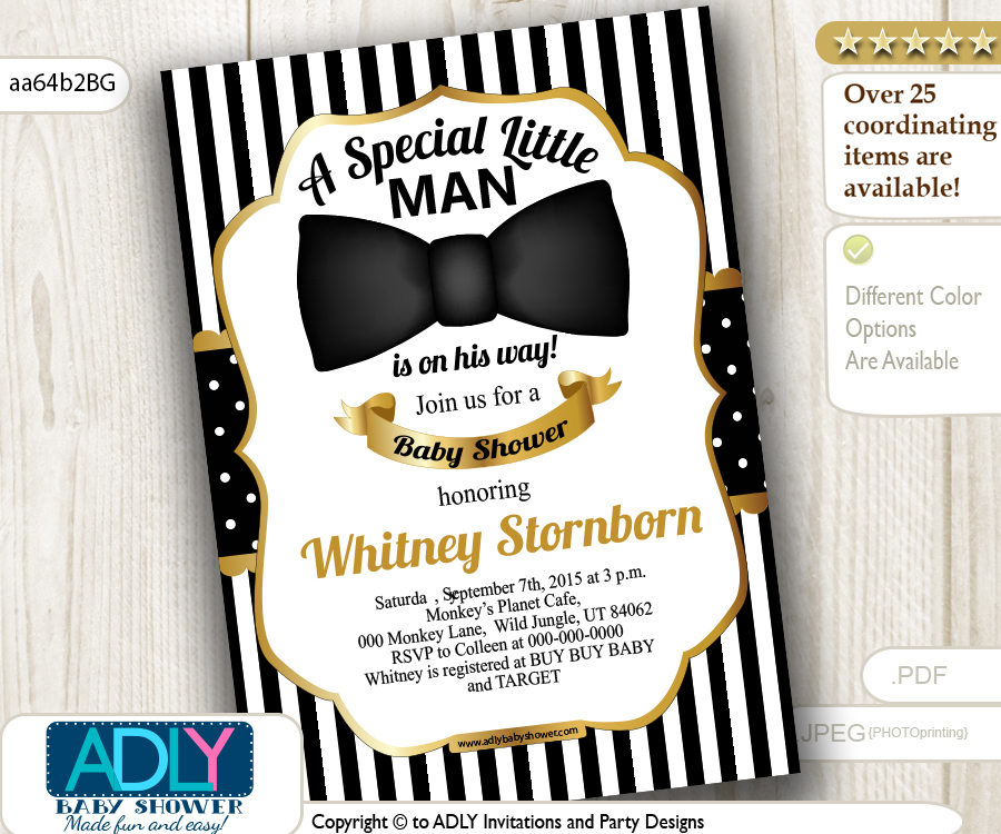 Black and Gold Bow tie Little man shower, stripes - ADLY Invitations ...