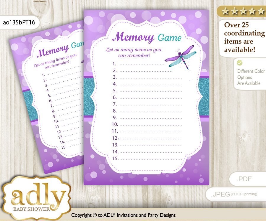 Girl Dragonfly Memory Game Card For Baby Shower, Printable Guess Card,  Purple Teal,