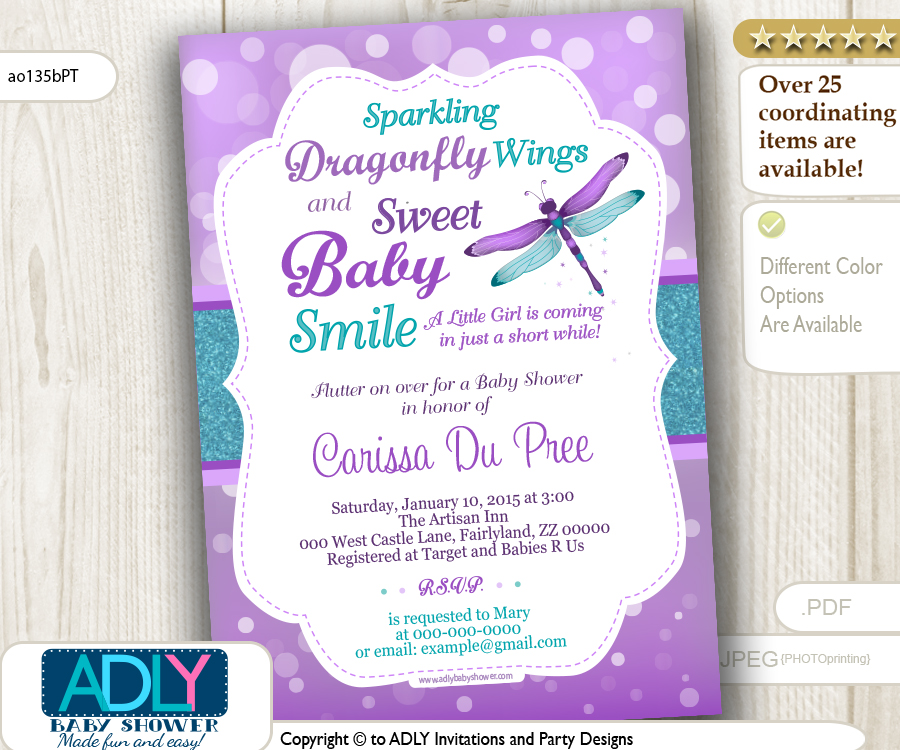 Purple and Teal Dragonfly Baby Shower Invitation, turquoise ...