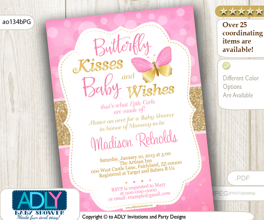 Gold and Pink Butterfly Invitation for Girl Baby Shower - ADLY ...