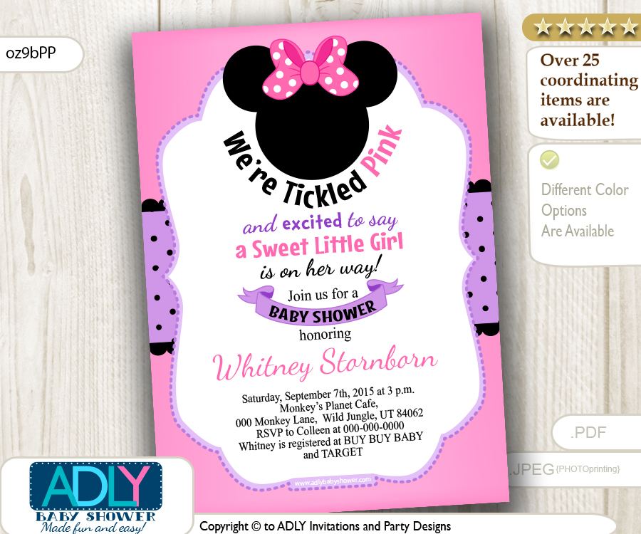 Minnie Mouse with Pink Bow and Purple Polka Girl Invitation for Baby ...
