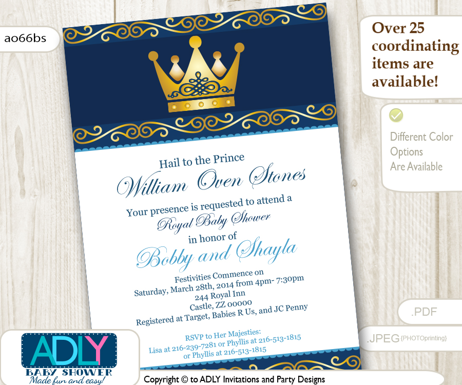 Royal and gold prince or king baby shower invitation instant dark blue and gold prince or king invitation stopboris Choice Image