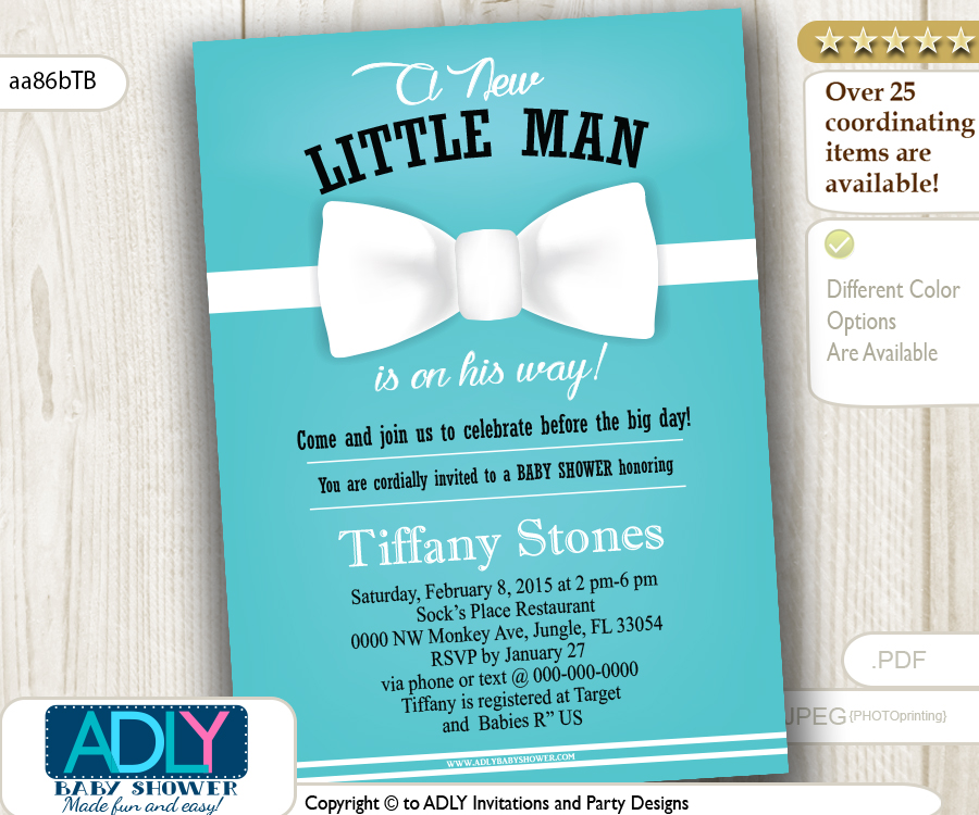 Tiffany Blue White Bow Tie Little Man Invitation for Boy Shower
