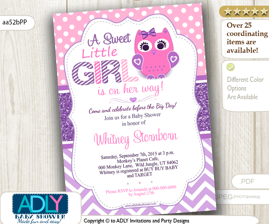 Purple Pink Girl Owl Baby Shower Invitation, lavender - ADLY ...
