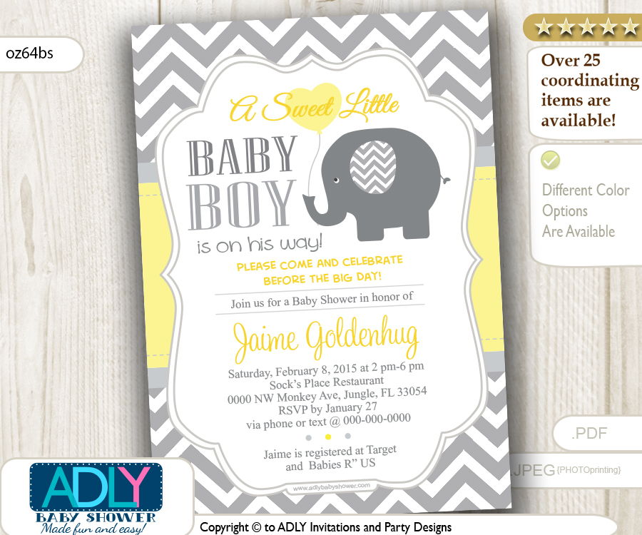 Yellow Grey Elephant with Balloon, Chevron Invitation for Baby ...