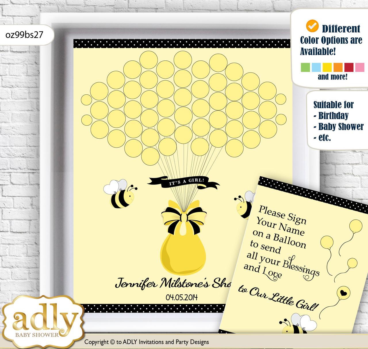 Girl Bee Guest Book Alternative for a Baby Shower, Creative Nursery ...