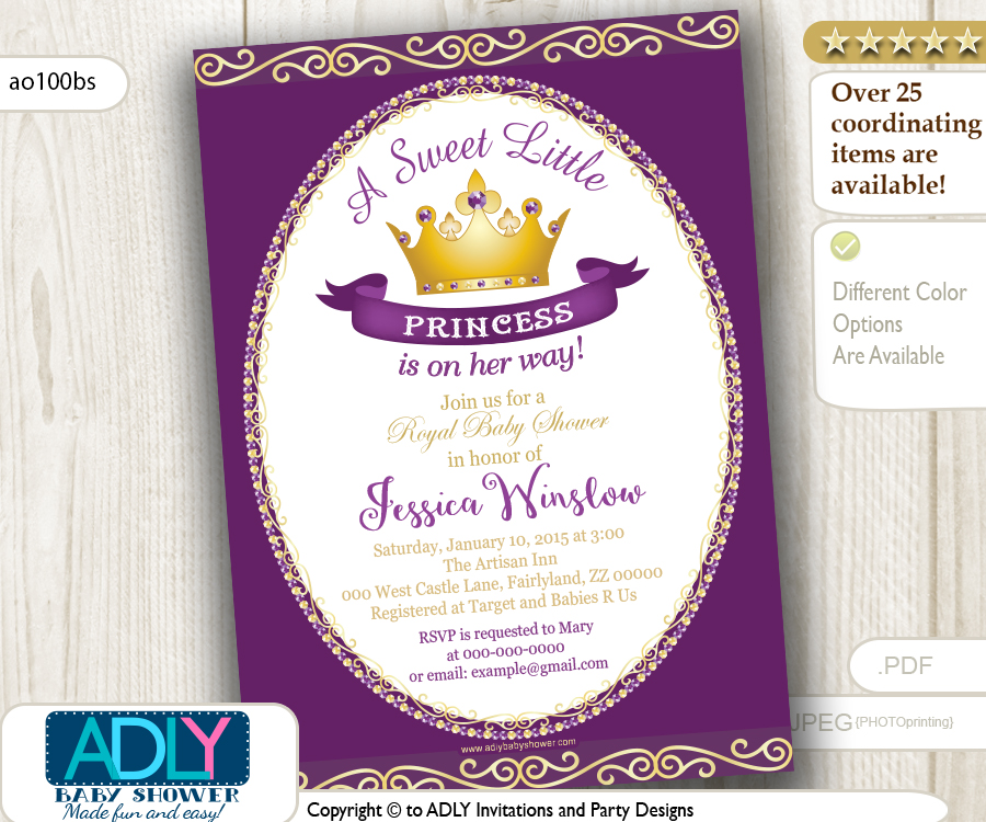 Purple Princess Baby Shower invitation for girl, pink, gold,golden ...