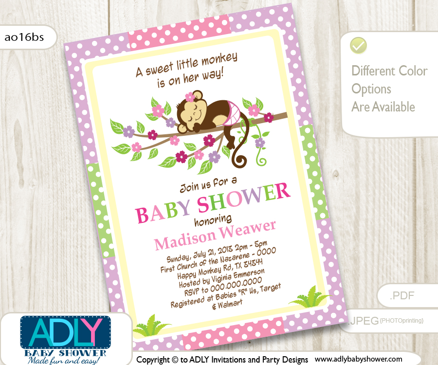 Purple Pink Girl Monkey Shower Printable DIY party invitation for ...