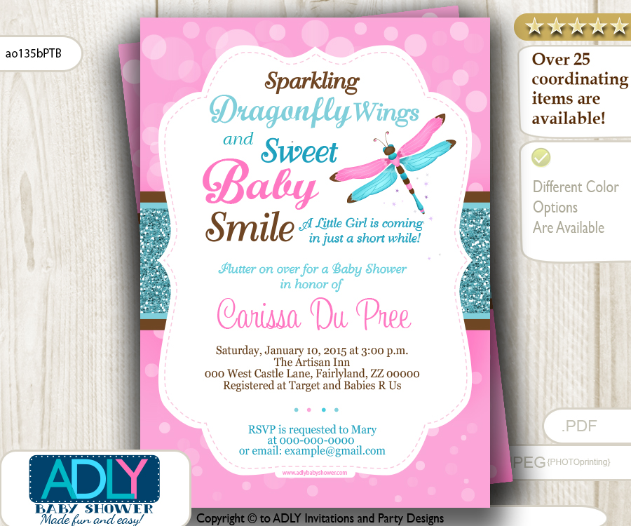 Girl Dragonfly Baby Shower Invitation In Pink, Teal, Turquoise, Brown Colors