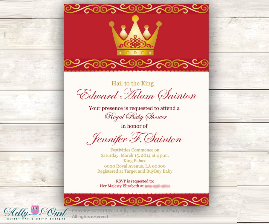 Red Gold Prince Baby Shower Invitation For Boy ,king, Golden Crown,royal  Shower
