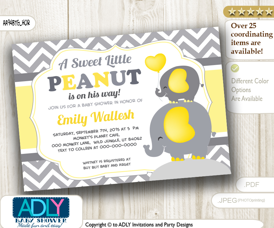 Horizontal boy peanut and elephant mommy invitation yellow grey horizontal boy peanut and elephant mommy invitation yellow grey chevron elephant invitation stopboris Gallery