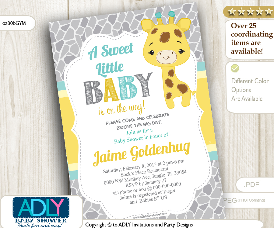 Neutral giraffe shower invitation grey yellow and mint adly neutral giraffe shower invitation grey yellow and mint stopboris Gallery