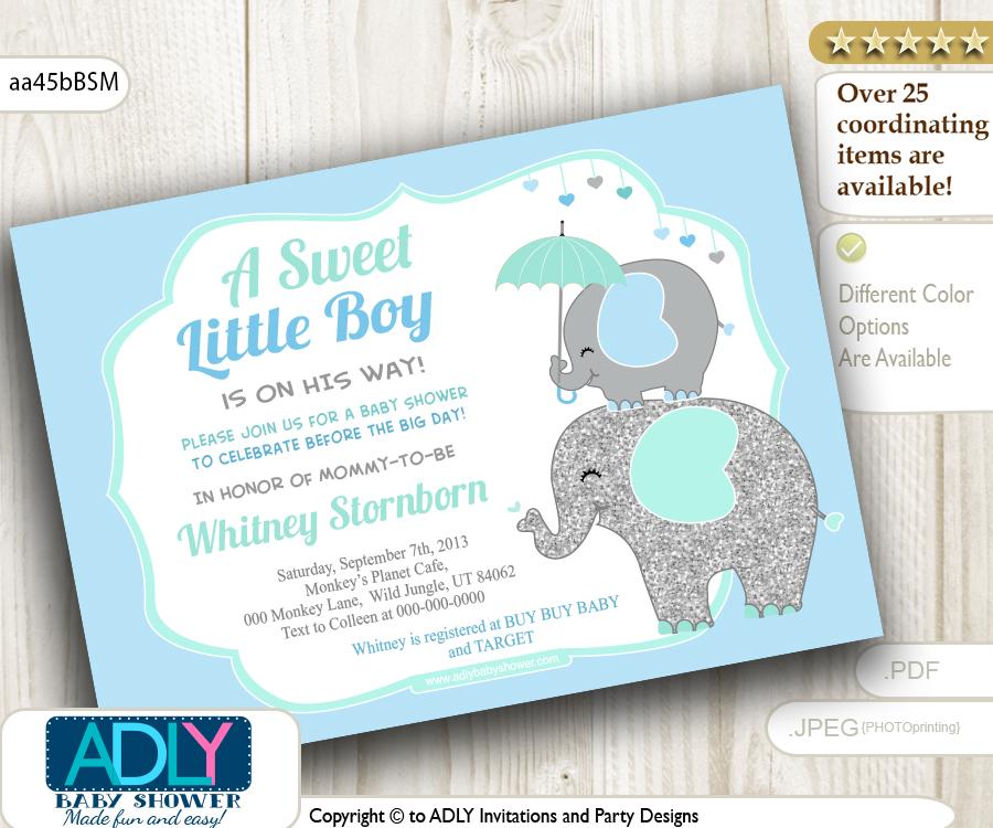 Grey, Blue, Mint Elephant Invitation for Boy shower - ADLY ...