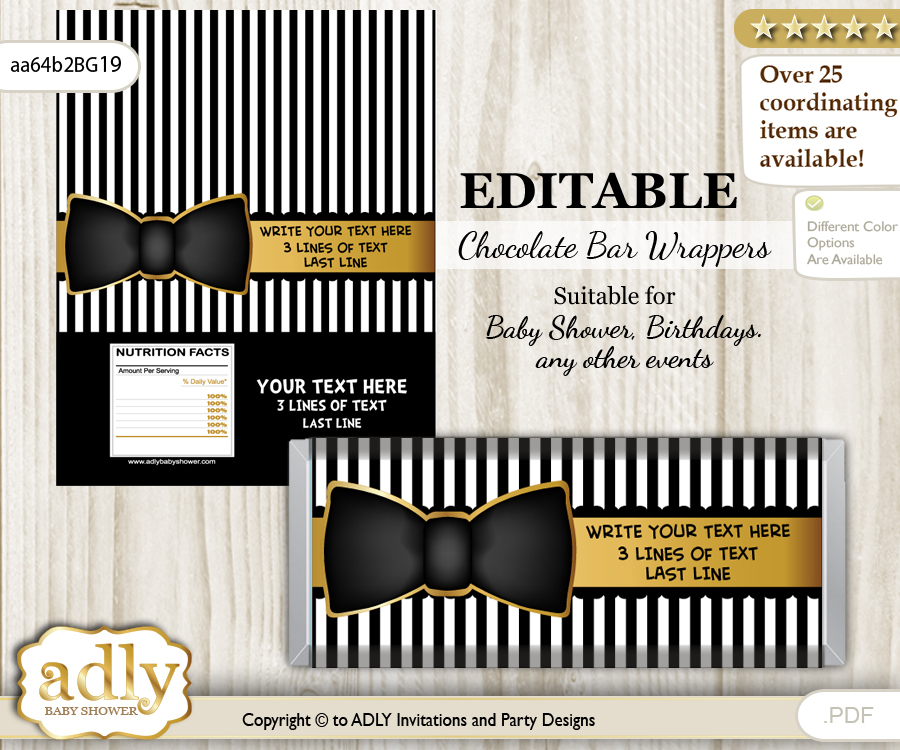 Personalizable Boy Bow Tie Chocolate Bar Candy Wrapper Label for Boy