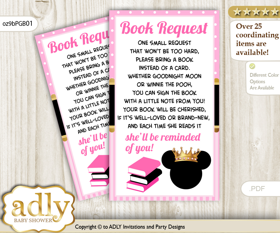 Request a Book Instead of a Card for Minnie Mouse Baby Shower or
