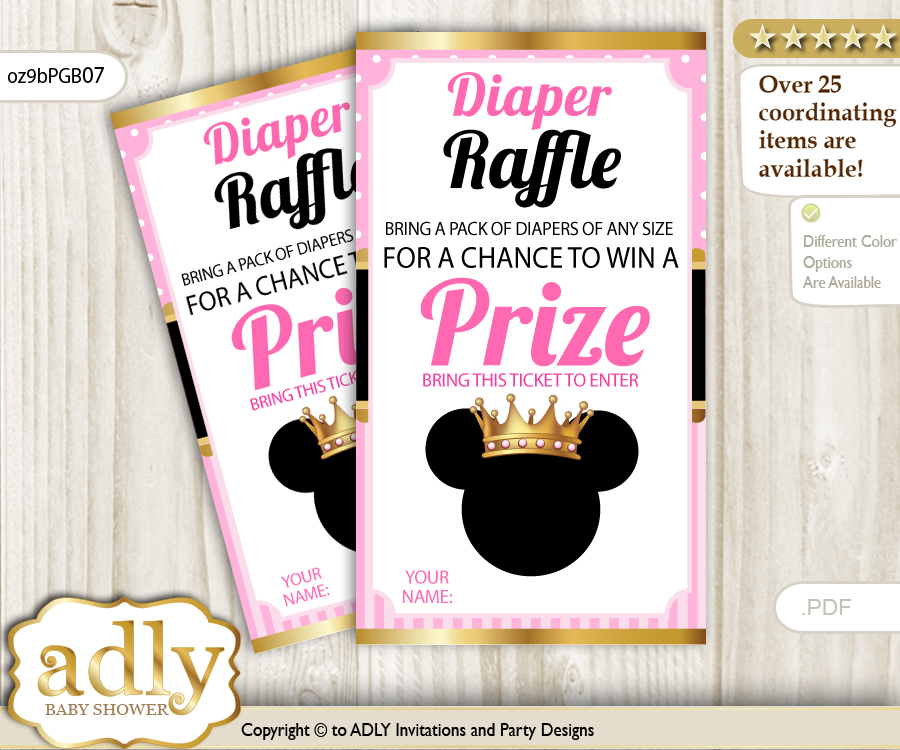Minnie Mouse Diaper Raffle Printable Tickets for Baby Shower Pink