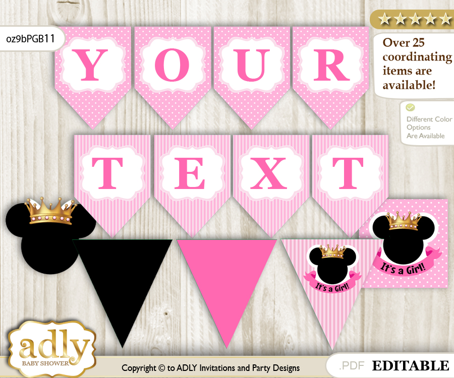 Personalized Minnie Mouse Printable Banner for Baby Shower Pink