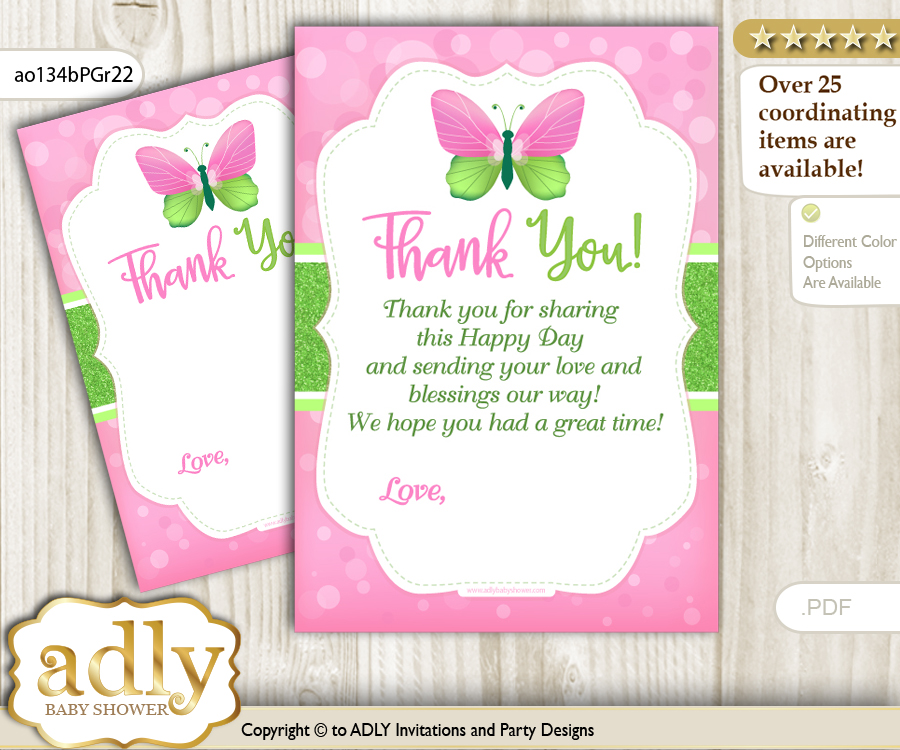 Girl Butterfly Thank you Cards for a Baby Girl Shower or Birthday ...