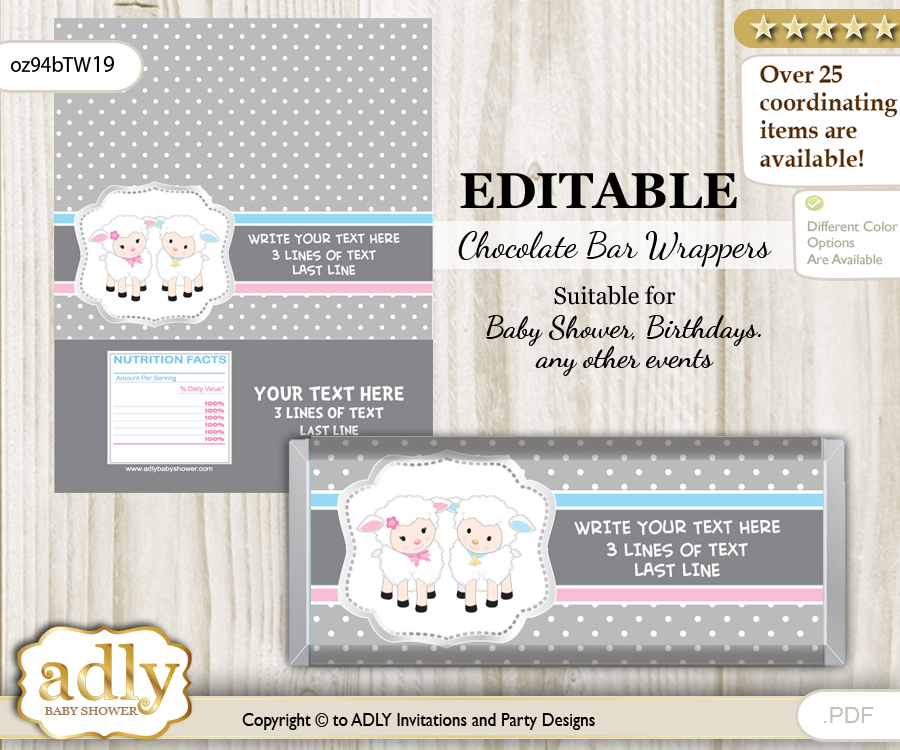 Personalizable Twins Lamb Chocolate Bar Candy Wrapper Label for ...