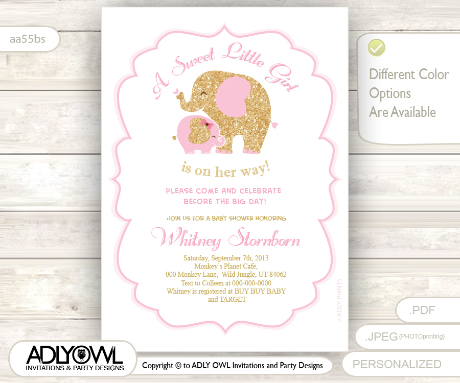 White, Soft Pink and Gold Girl Baby Shower - Mommy and Baby Elephant ...