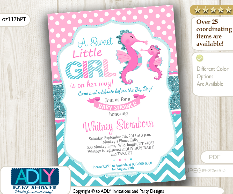Pink Teal Seahorse Girl Baby Shower Invitation Adly Invitations