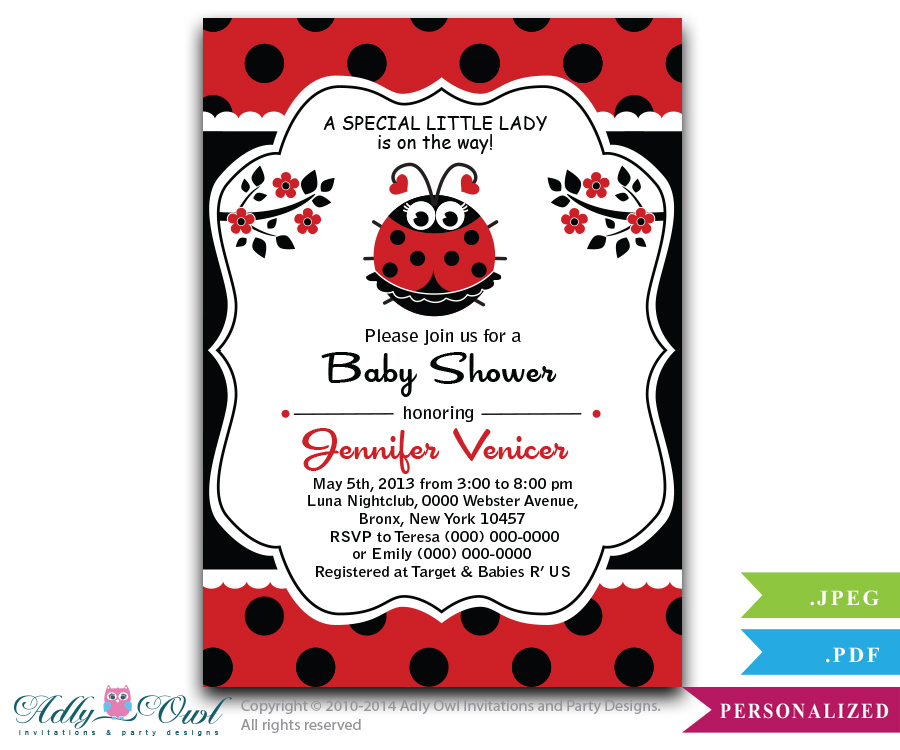 Red and Black Girl Ladybug Baby Shower Invitation - ADLY Invitations ...
