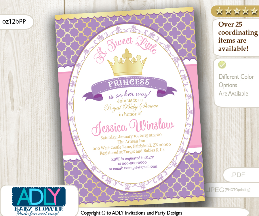 Purple Pink Gold Princess Invitation for Royal Baby Shower, lavender ...